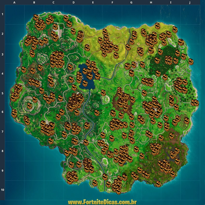 Mapa de Baús Fortnite Battle Royale