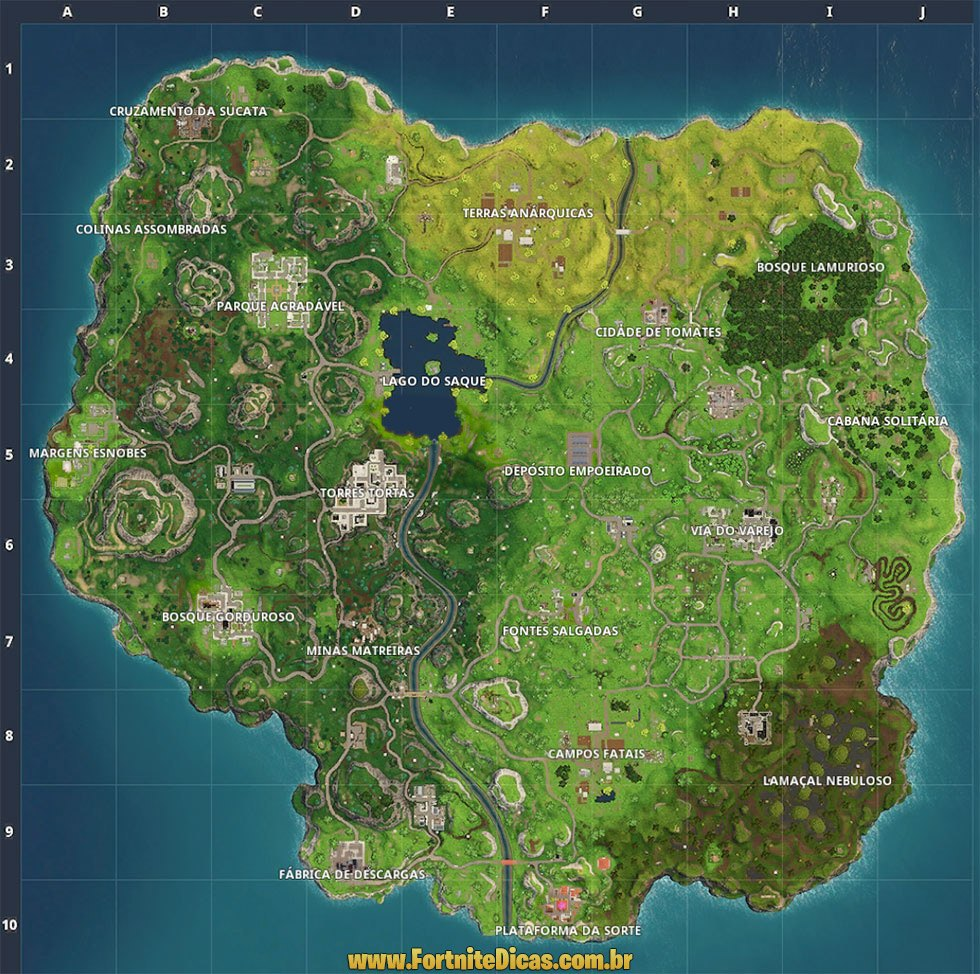 Mapa de Fortnite Battle Royale - Locais de Interesse